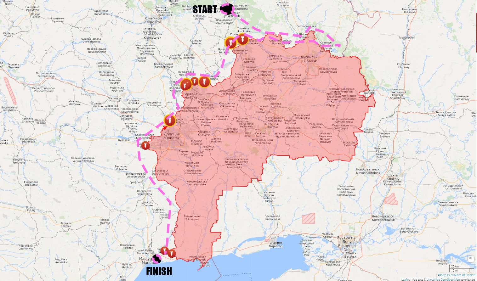"Donbas_2020_Project: ""The Pink Rider – The Line"" performance. Realisation of the ""Premortal portraits of the people of Donbas"" project. October-December 2020"